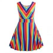 WILLTOO Women's Vintage Dress Mini Gown Rainbow Sleeveless A-Line Dress Plus Size - Dresses - $10.66