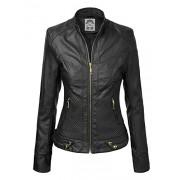 WJC747 Womens Dressy Vegan Leather Biker Jacket L BLACK - Shirts - $42.46