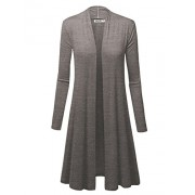 WSK1048 Womens Solid Long Sleeve Open Front Long Cardigan XXXL Heather_Dark_Grey - Shirts - $32.79