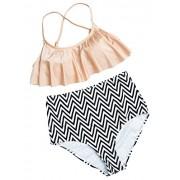Wantdo Girl's Ruffled Bikini Set High Waisted Flounce Top Swimsuit - Swimsuit - $18.79