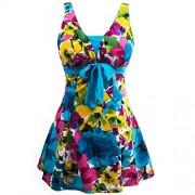 Wantdo Women's Floral Swimdress Modest Swimwear Slimming Push up Skirtini Swimsuit - Swimsuit - $34.87