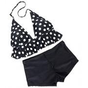 Wantdo Women's Ruffle Bikini Two Piece Swimsuit High Waisted Bathing Suit - Swimsuit - $17.99