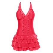 Wantdo Women's Solid Tiered Skirt Backless Swimsuit Halter One Piece Swimdress - Kupaći kostimi - $28.46  ~ 180,79kn