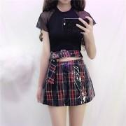 Waterproof pu composite plaid mini skirt - Skirts - $27.99