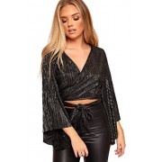 WearAll Women's Metallic Shiney Long Flared Sleeve Tie Up Party Cardigan Crop Top - Shirts - $16.09