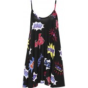 WearAll Women's Plus Comic Graphic Strappy Print Swing Vest Sleeveless Flared Top - Shirts - $5.88