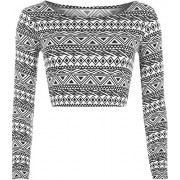 WearAll Women's Print Long Sleeve Crop Top - Shirts - $0.09
