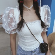 White square neck mesh lace lace puff sleeve short sleeve shirt - Shirts - $28.99