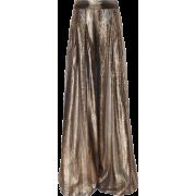 Wide Leg Metallic Stripe Print Pants - Capri & Cropped -