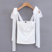 Wild French retro backless small camisol - Shirts - $25.99