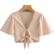 Wild Short Sleeve V-Neck Top - Shirts - $25.99