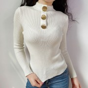 Wild Turtleneck Button Top Half-neck Lon - Shirts - $22.99