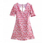 Wild V-neck Puff Sleeve Cherry Printed H - Dresses - $27.99