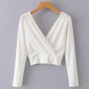 Wild V-neck halter solid color knit cros - Shirts - $25.99