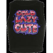 Wild black cartoon letter print top - T-shirts - $17.99