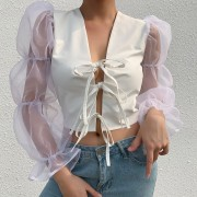 Wild design splicing mesh lace openwork - T-shirts - $25.99