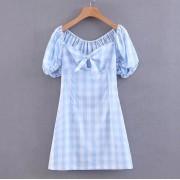 Wild laced plaid bow dress - Dresses - $27.99
