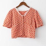 Wild lace polka dot shirt V-neck stitching topt - Shirts - $19.99