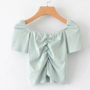 Wild pure color chest elastic knit top - Shirts - $25.99