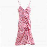Wild slim drawstring pleated cherry prin - Dresses - $27.99