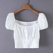 Wild square collar short-sleeved waist s - Shirts - $25.99