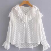 Wild white long sleeve V-neck ruffled sh - Shirts - $27.99