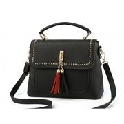 Women Crossbody Hobo Leather Rivet Tassels Package Single Shoulder Message Bag - Bag - $24.99