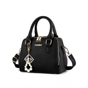 Women Small Size 2 Main Porcket Roomy Handbags Double Zipper Purse Leather Tote Shoudle Bag - Bag - $29.99
