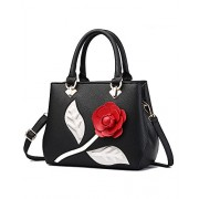 Women's Rose Flower PU Leather Handbag Elegant Lady Style Top Handle Shoulder Bags Tote Purse - Bag - $24.99
