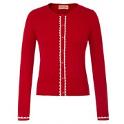 Women Button Knit Cardigan Contrast Color Long Sleeve Shrug BP779 - Flats - $15.88