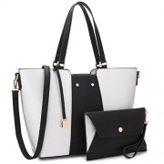 Women Large Designer Laptop Tote Bag Two Tone Handbag Work Tote Bag Satchel Purse w/ Matching Wallet - Hand bag - $109.99