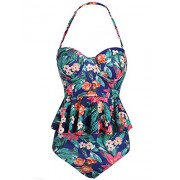 Women Sexy Strapless Two Piece Retro Bikini Push up Floral Peplum Padded Swimsuit - Swimsuit - $9.99
