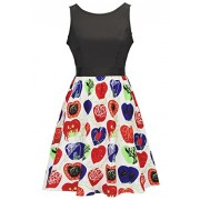 Women Vintage Apple Sleeveless Pleated Cocktail Party Swing Dress - Dresses - $26.99  ~ £20.51