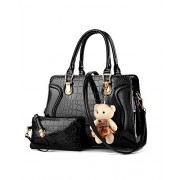 Womens 2 Piece Purse Set Patent Leather Handbags Boutique Shoulder Messenger Bag With Bear Pendant - Bag - $35.00