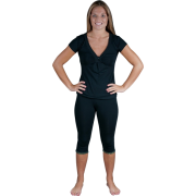 Womens Cotton Shiny Décor V-neck top and Capri - loungewear/PJ/pajama set - Colors Available Black - Pajamas - $17.99