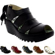Womens Fly London Yown Rug Leather Vacation Peep Toe Wedges Heel Sandals - Shoes - $89.99