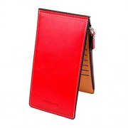 Womens Leather Bifold Multi Card Case Thin Wallet with Zipper Pocket - Wallets - $14.99