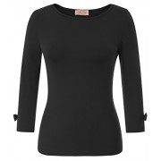 Women's 3/4 Sleeve Crew Neck Slim Fitted Stretchy Tops Basic Tee T-Shirt - Sapatilhas - $14.99  ~ 12.87€