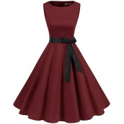 Women's 50s 60s Rockabilly Cocktail Dress Sleeveless Vintage Prom Swing Party Dr - Dresses - £19.99