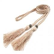 Women's Belts Solid Color Tassel Braided Bowknot Thin Waist Weave Belt - Belt - $12.00