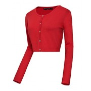 Women's Button Down Crew Neck Cropped Cardigan Knitted Sweater - Shirts - $16.98