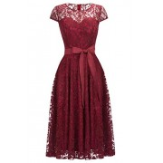 Women's Cap Sleeve Deep O-Neck Belted Knee Length Evening Party Lace Dress - Dresses - $29.99