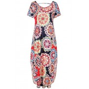 Women's Casual Loose Pocket Long Dress Short Sleeve Split Maxi Dresses - Dresses - $21.80