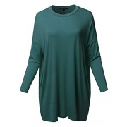 Women's Casual Stylish Solid Loose Fit Dolman Long 3/4 Sleeve Tunic Dress Top - Shirts - $13.99