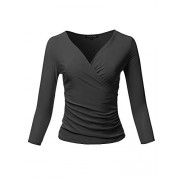 Women's Casual V Neck 3/4 Sleeve Cross Wrap Sexy Ruched Shirt Top - Shirts - $11.99