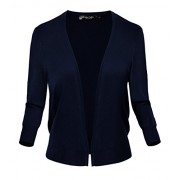 Women's Classic Open Front Sweater 3/4 Sleeve Cardigan - Shirts - $15.98