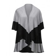 Women's Color Block Reversible Round Shawl Poncho Cape - Accessories - $16.98