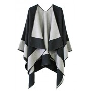 Women's Color Block Reversible Wrap Shawl Poncho Cape - Accessories - $23.80