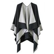 Women's Color Block Reversible Wrap Shawl Poncho Cape - Accessories - $23.80