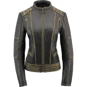 Women's Distressed Gray Laced Leather Jacket - Jacket - coats - 237.00€  ~ $275.94
